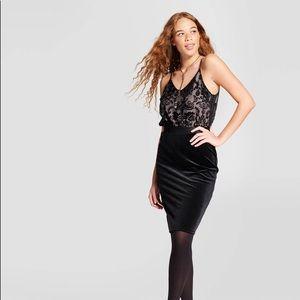 NWT Black Velvet Bodycon Dress Xhilaration
